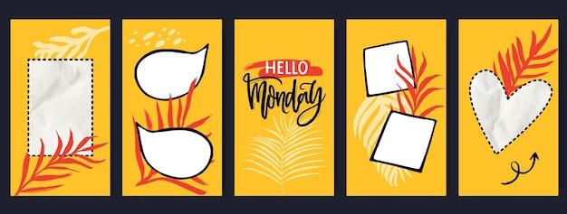 Żółte szablony opowiadań z ramkami do zdjęć, dymkami, kolażem w kształcie serca i prostokąta z pomiętym papierem i tropikalnymi liśćmi. witam poniedziałek inspirujący cytat. zestaw mediów społecznościowych.