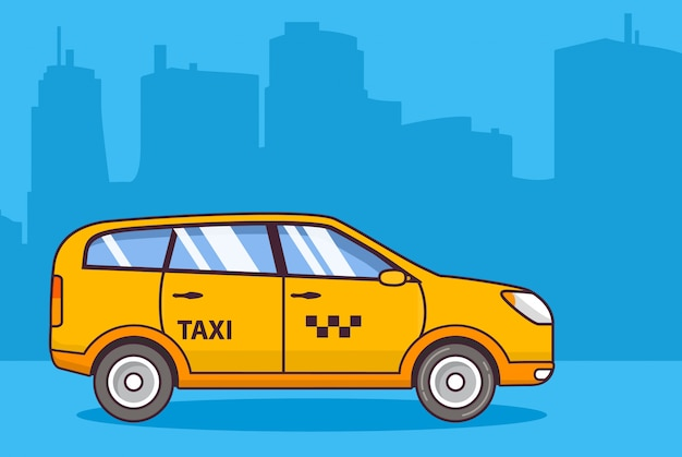 Żółte taksówki, pojazd miejski miasto.