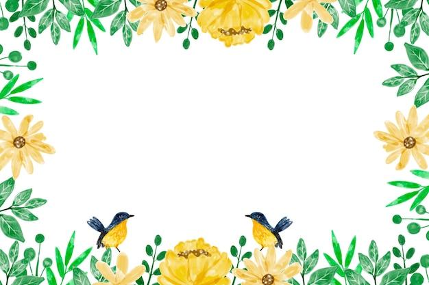 Żółte tło kwiatowe z akwarelą