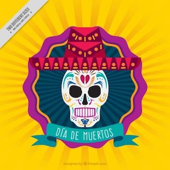 Żółte tło meksykańskich czaszki