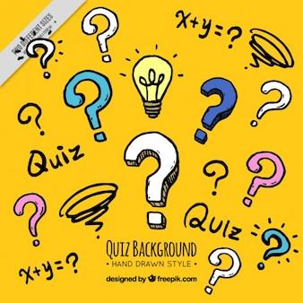 Żółte tło quizu w stylu rysowane ręcznie