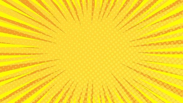 Żółte tło strony komiksu w stylu pop-art z pustej przestrzeni. szablon z promieniami, kropkami i teksturą efektu półtonów. ilustracja wektorowa