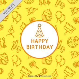 Żółte tło urodziny
