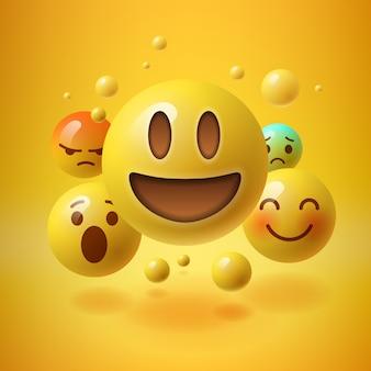 Żółte tło z grupą uśmiechniętych emotikonów, ilustracji