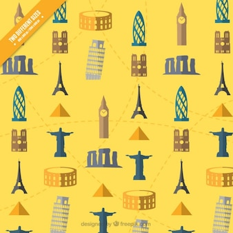 Żółte tło z pomników w płaskiej konstrukcji