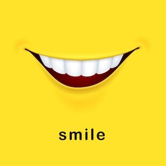 Żółte tło z realistycznymi uśmiechniętymi ustami