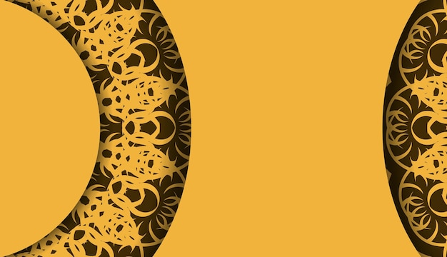 Żółte tło z rocznika brązowy ornament do projektowania pod tekstem