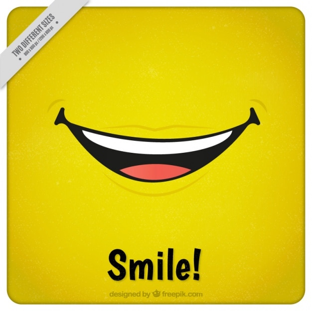 Żółte tło z wielkim uśmiechem