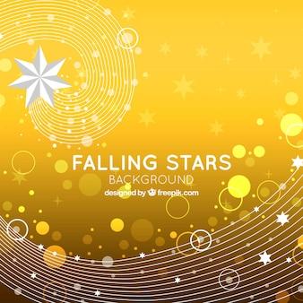 Żółte tło ze spadającymi gwiazdami