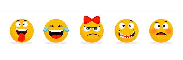 Żółte twarze emotikonów. śmieszne buźki z kreskówek, emoji z kreskówek