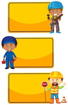 Żółte znaki z pracownikami budowlanymi