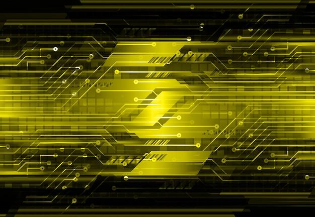 Żółtego cyber obwodu technologii pojęcia przyszłościowy tło