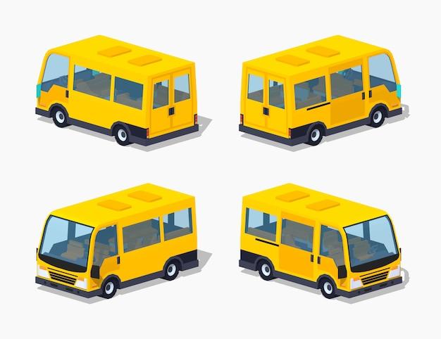 Żółty 3d izometryczny minivan pasażerski