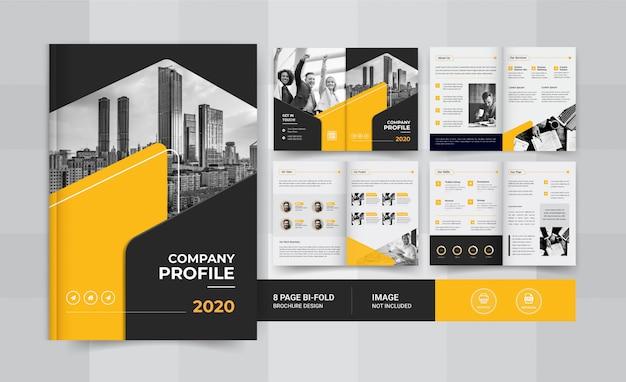 Żółty, 8-stronicowy projekt broszury biznesowej