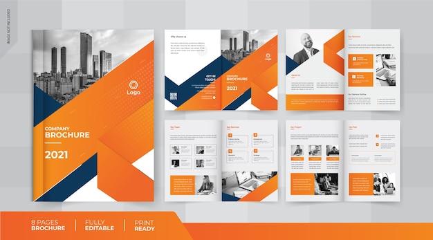 Żółty 8-stronny projekt broszury biznesowej