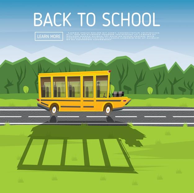 Żółty autobus szkolny jadący wzdłuż wiejskiej drogi.
