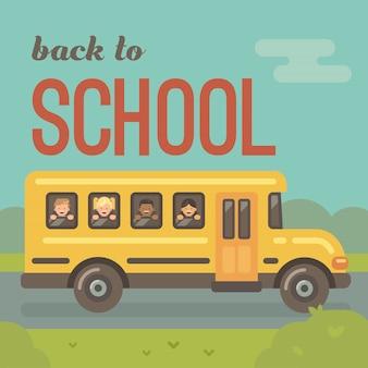 Żółty autobus szkolny na drodze, widok z boku, czwórka dzieci wyglądających przez okna, dwóch chłopców, dwie dziewczynki. powrót do szkoły