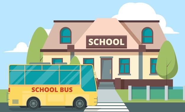 Żółty autobus w pobliżu szkoły. edukacja koncepcja tło z codziennym transportem dla dzieci, budowanie wektor kreskówka. buduj szkołę i przyjeżdżaj żółtą ilustracją autobusu