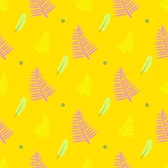Żółty bezszwowy wzór z piórkami, kropkami i paprociowymi liśćmi