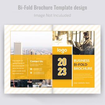 Żółty bi-fold projekt broszury