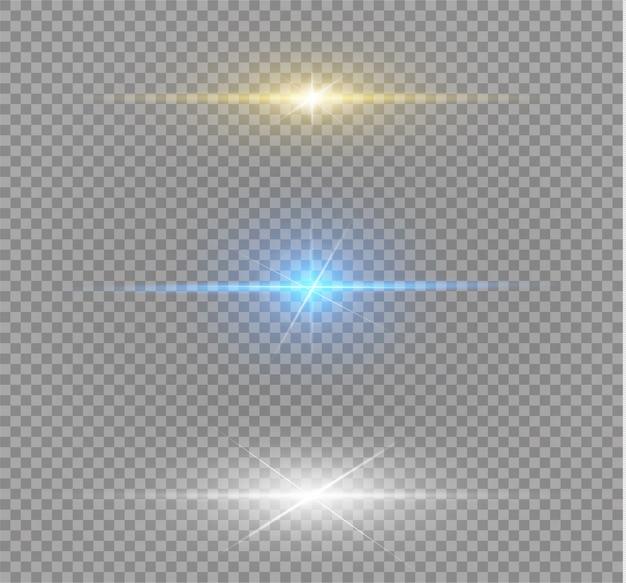 Żółty, biały i niebieski efekt specjalny. świetliste paski. piękny blask.