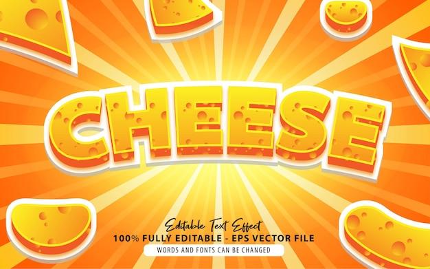 Żółty cheesse, edytowalny efekt tekstowy stylu cartoon 3d