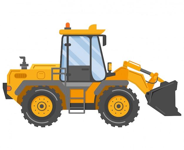 Żółty ciągnik spychacz. maszyna budowlana. pojazd przemysłowy.