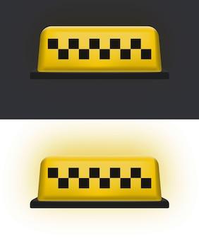 Żółty dach samochodu taxi. ikona taksówki. ilustracja wektorowa