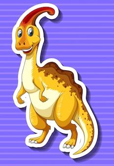 Żółty dinosaur na purpurowym tle