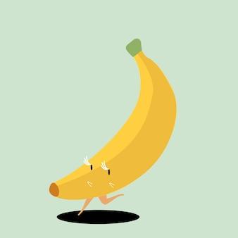 Żółty dojrzały bananowy postać z kreskówki wektor