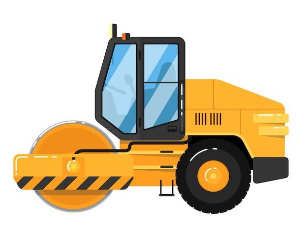 Żółty drogowy rolownik odizolowywający na bielu