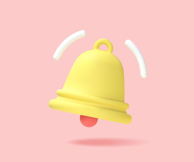 Żółty dzwonek powiadomienia, nadszedł alert. jedna nowa koncepcja powiadomień. notyfikacja. grafika wektorowa.