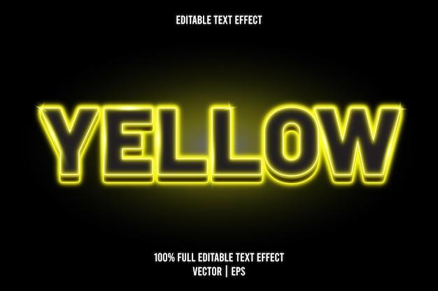 Żółty, edytowalny efekt tekstowy w stylu neonowym