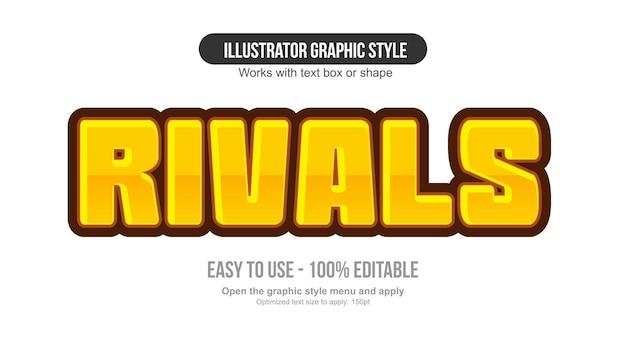 Żółty efekt tekstowy gier kreskówek