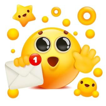 Żółty emoji uśmiech twarz postać z kreskówki gospodarstwa koperta.