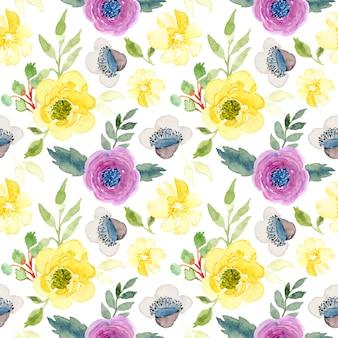 Żółty fioletowy akwarela kwiatowy wzór