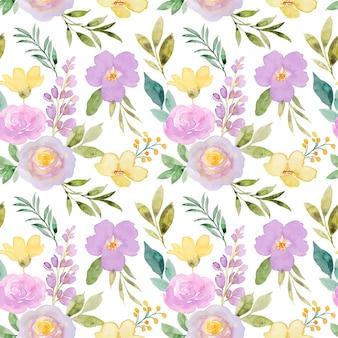 Żółty fioletowy kwiatowy wzór akwarela bezszwowe