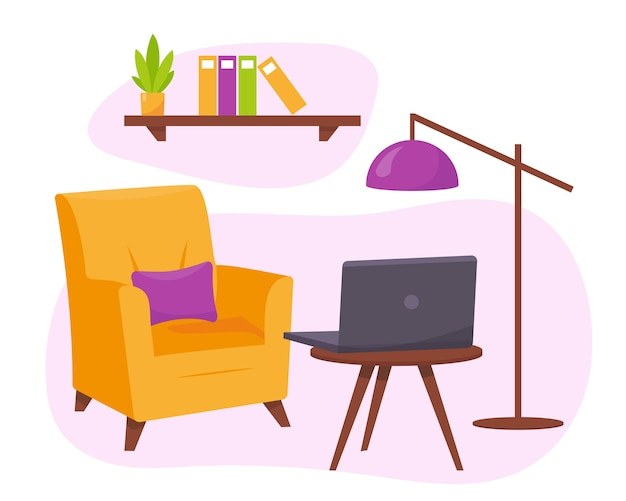 Żółty fotel, stolik z lampką na laptopa.