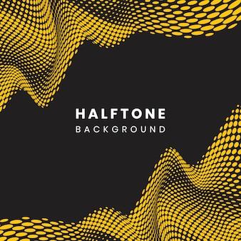 Żółty i czarny falisty halftone tło