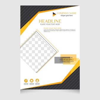 Żółty i czarny projekt ulotki broszury szablon układu