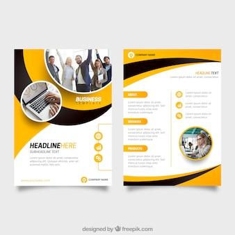 Żółty i czarny szablon flyer biznesu
