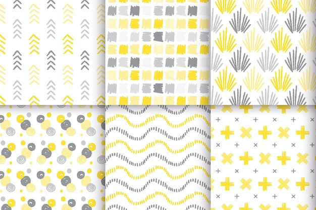 Żółty i szary ręcznie rysowane wzór zestaw motywu