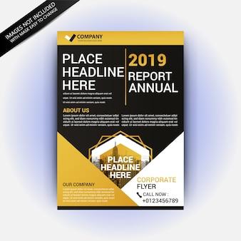 Żółty i szary szablon rocznego raportu biznesowego
