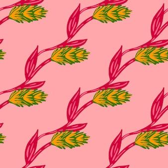Żółty i zielony kolorowy kłos pszenicy ornament bezszwowe doodle wzór. jasne różowe tło. nadruk farmy. projekt graficzny do owijania tekstur papieru i tkanin. ilustracja wektorowa.