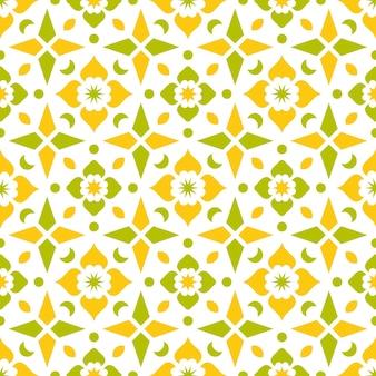 Żółty i zielony wzór etniczny batik abstrakcyjne tło
