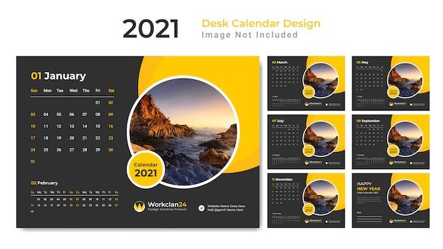 Żółty kalendarz na biurko, terminarz na rok 2021