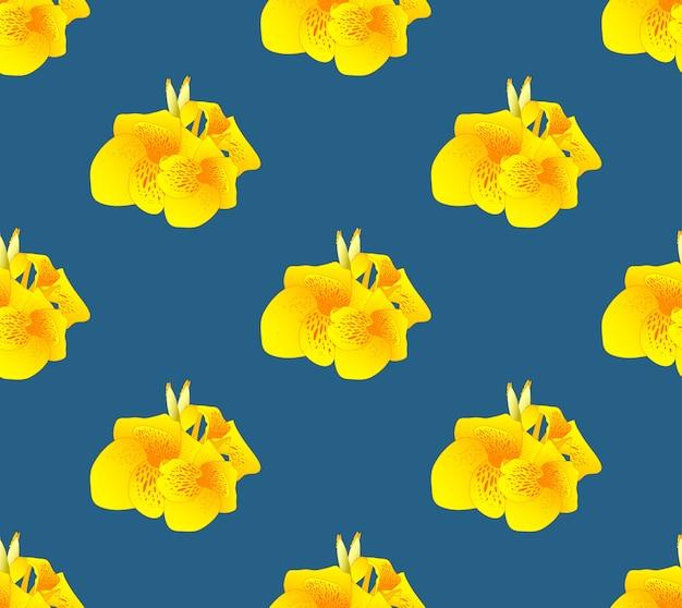 Żółty kanna lelui kwiat bezszwowy na indygowym błękitnym tle