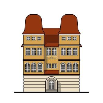 Żółty klasyczny dom z dwiema wieżami i czerwonym dachem w klasycznym stylu.