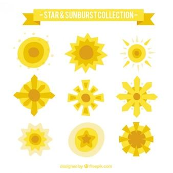 Żółty kolekcja sunbusrt w płaskiej konstrukcji