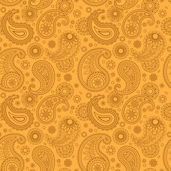 Żółty kolor arabski wzór paisley